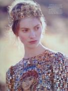 'Dark Star' editorial, Harper's Bazaar UK, September 2013. Styled by Cathy Kasterine, photographs Tom Allen, model Iris Van Berne. Sequined and beaded silk dress, gold-plated metal crown, both Dolce & Gabbana.