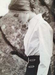 'Dark Star' editorial, Harper's Bazaar UK, September 2013.Styled by Cathy Kasterine, photographs Tom Allen, model Iris Van Berne. White silk poplin shirt, black crepe skirt, both Balenciaga. Gold and ruby earrings, Stone Paris.