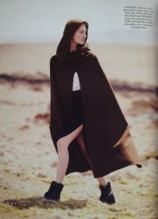 'Dark Star' editorial, Harper's Bazaar UK, September 2013. Styled by Cathy Kasterine, photographs Tom Allen, model Iris Van Berne. Cotton shirt, flannel skirt, cashmere and leather cape, all Hermès. Boots, model's own.