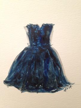Mum's Dress, 1983, watercolour sketch, 2014